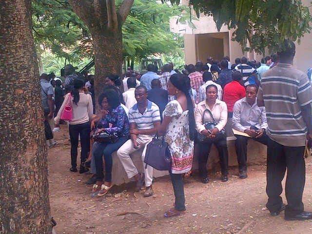 Jobseekers in Abuja in June 2012 waiting to submit application forms for entry into the Civil Service